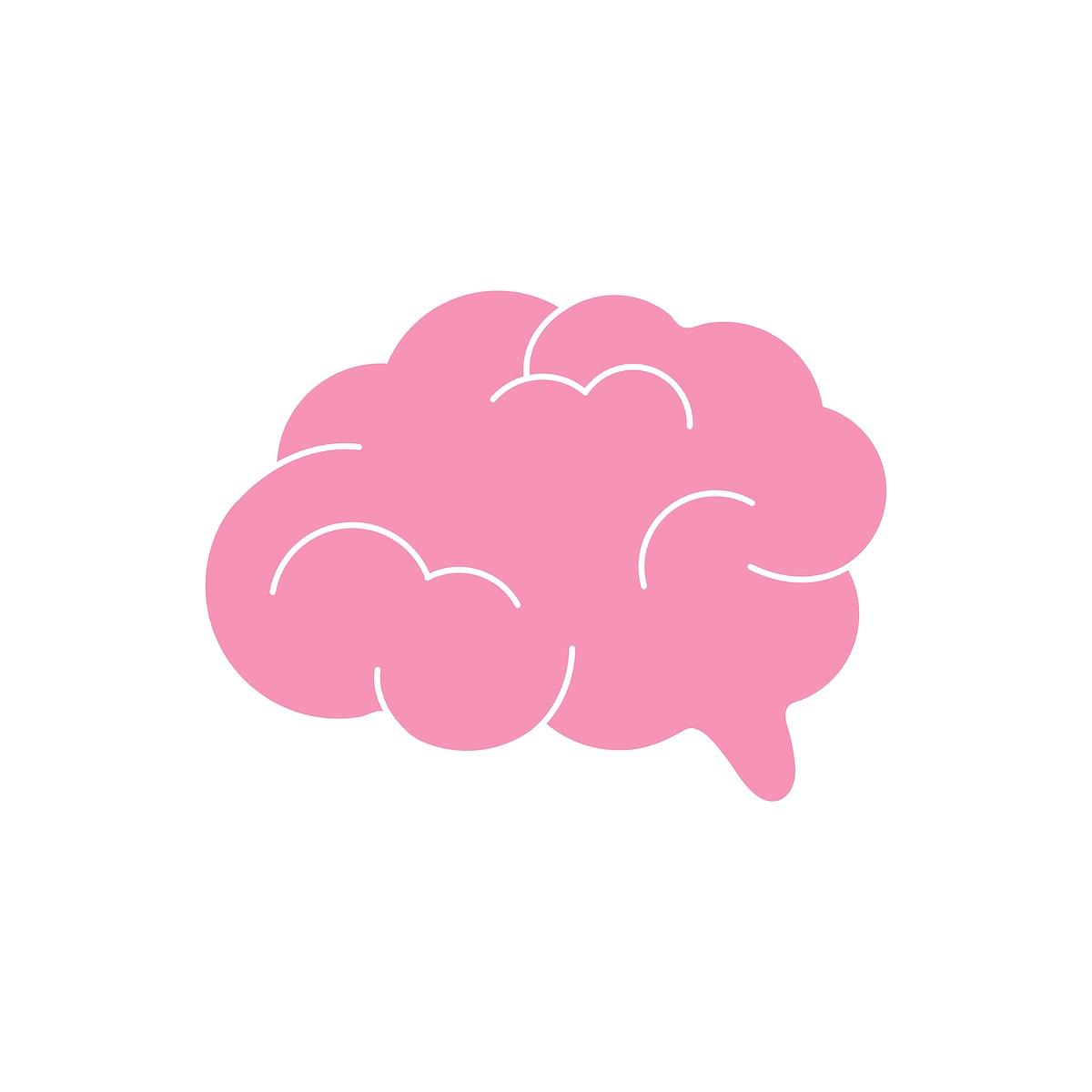 Pink human brain graphic illustration