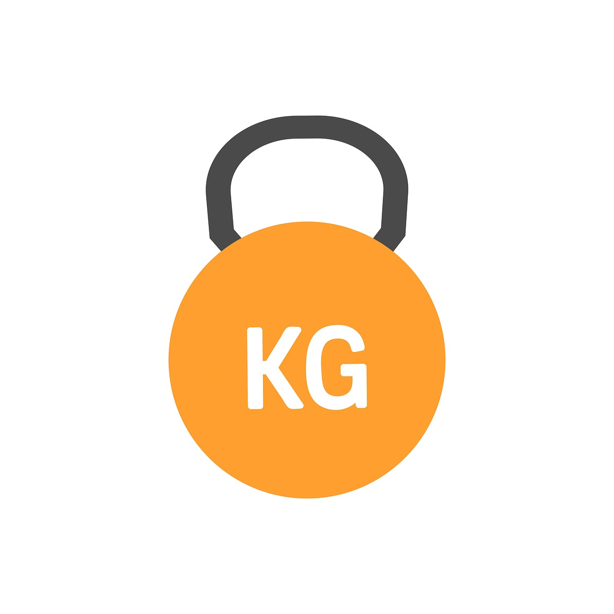 Orange kettlebell icon graphic illustration
