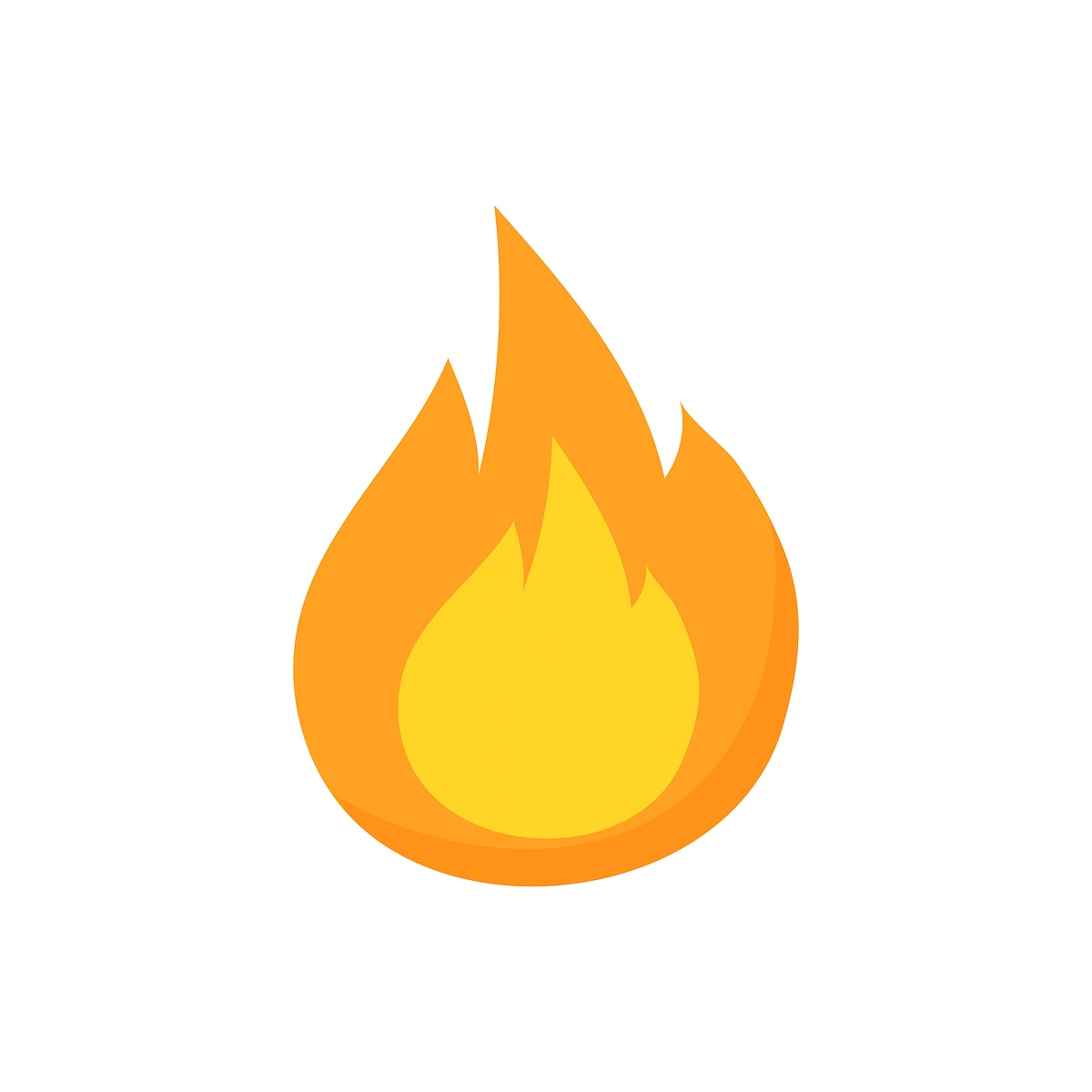 Single flame isolated graphic illustration