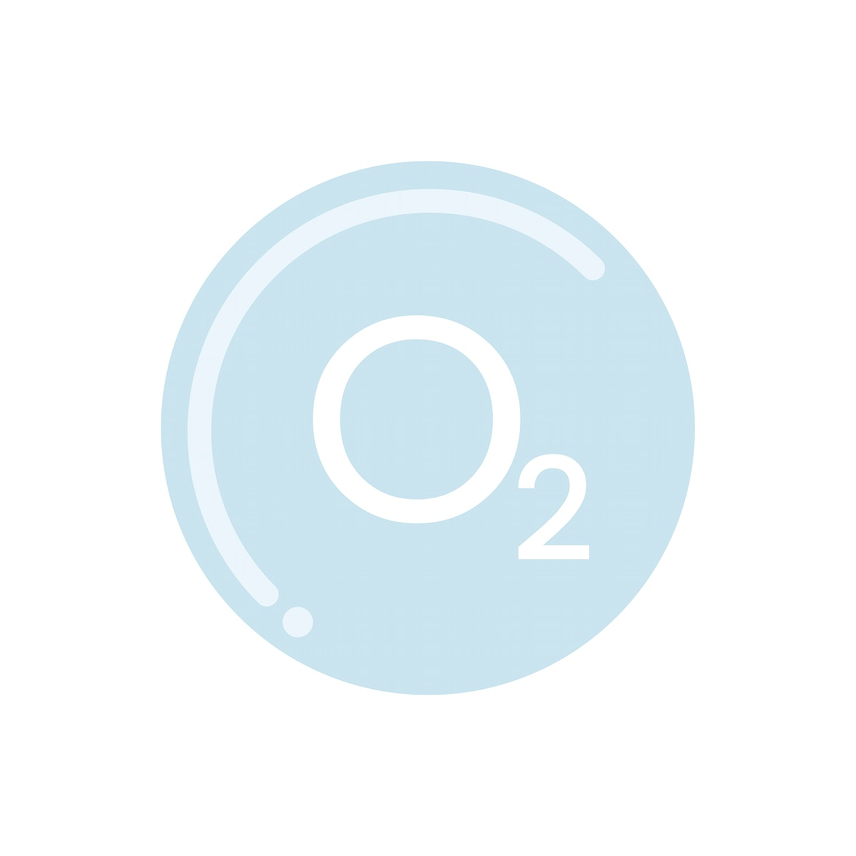 Bubble and O2 sign graphic illustration
