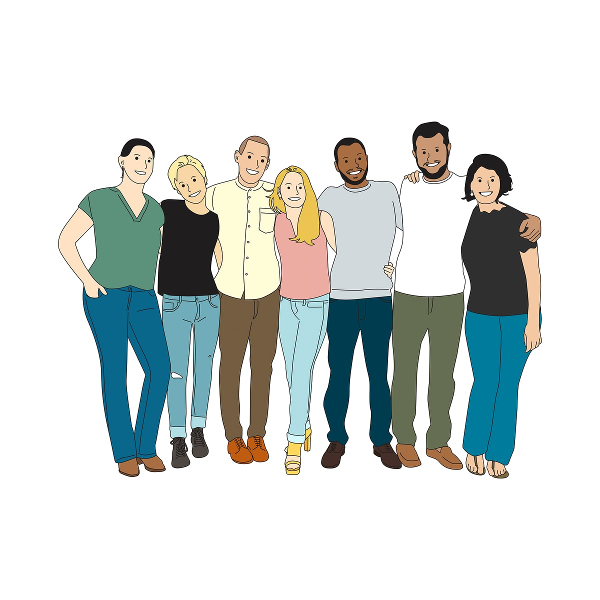 Illustration of diverse people arms around each other
