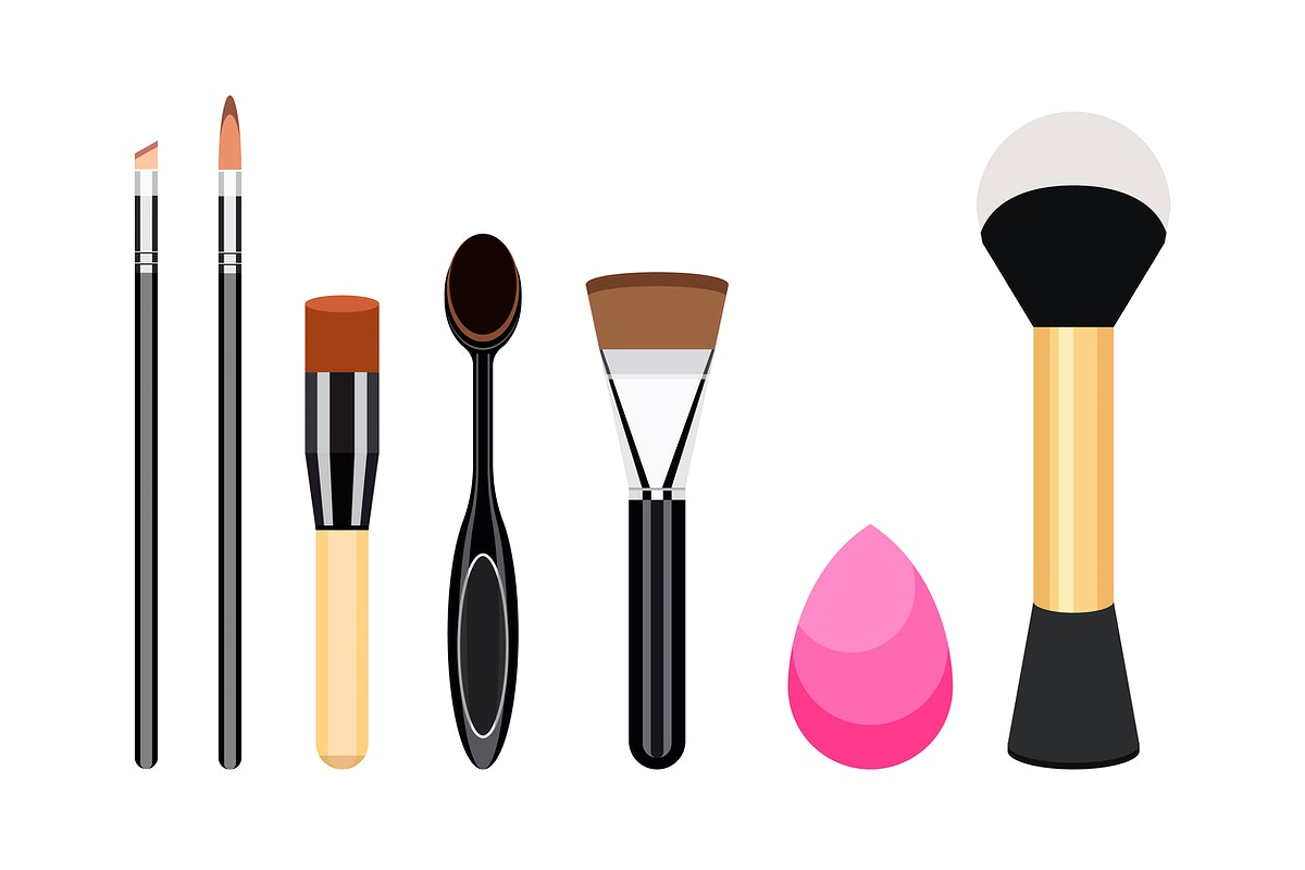 Collection of women cosmetic brush icons