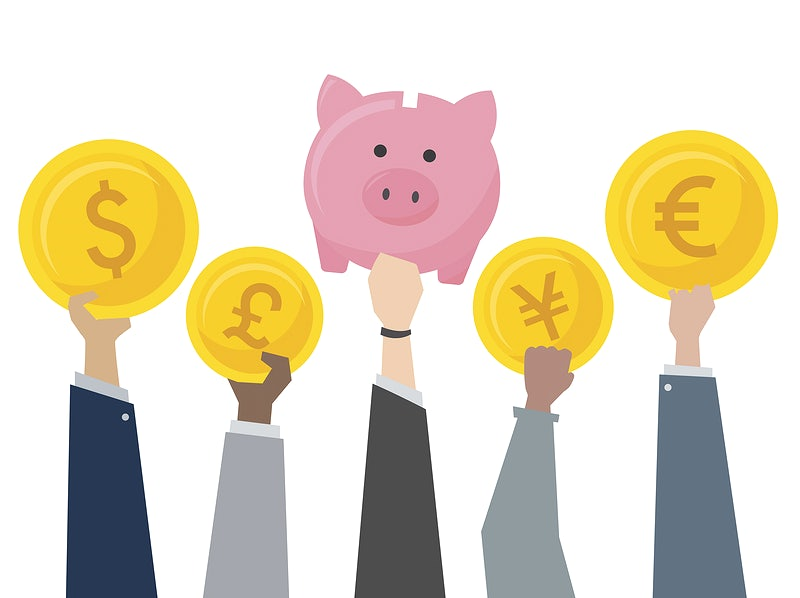 Illustration of piggy bank and currency exchange