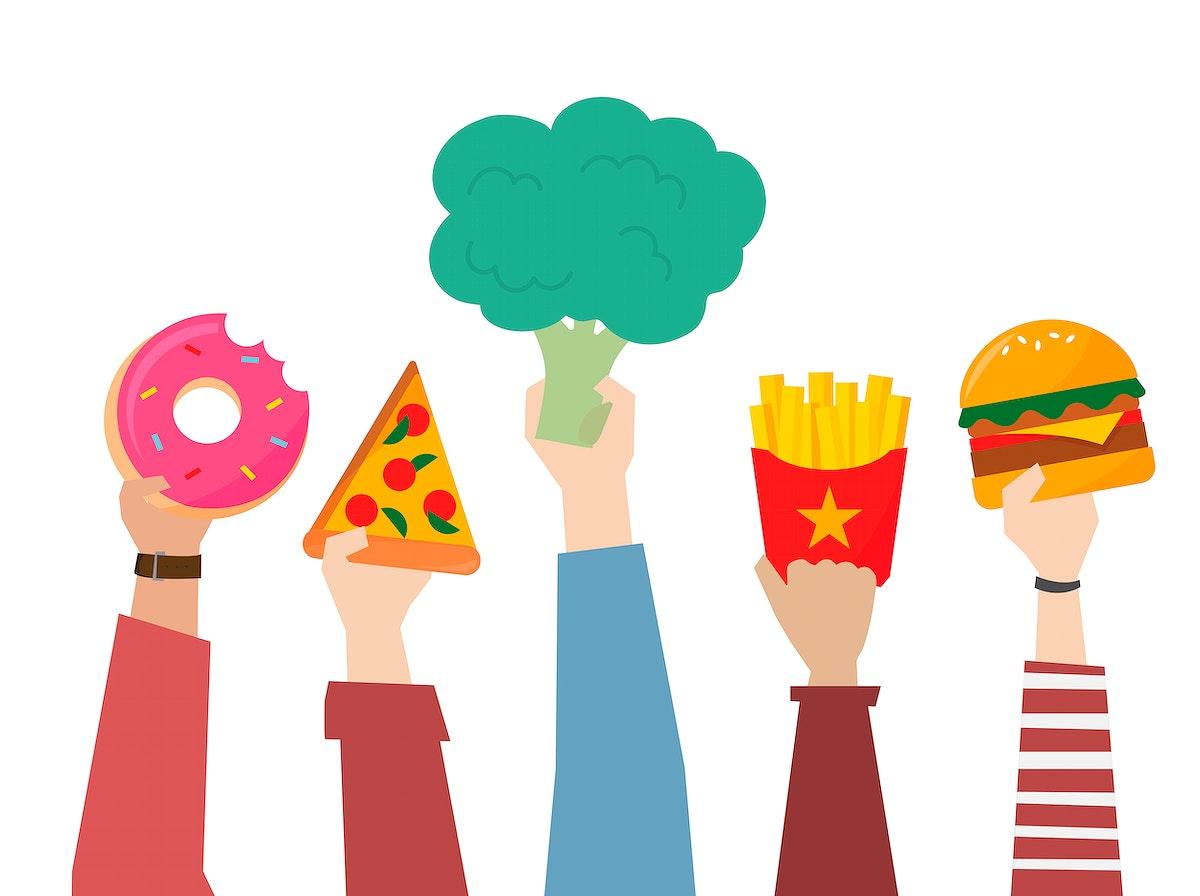 Hands choosing healthier food illustration