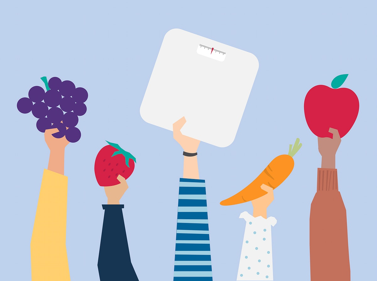 Hands holding healthy lifestyle items illustration