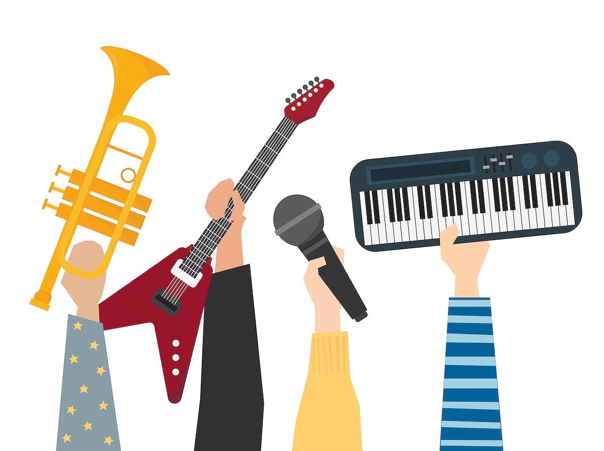 Hands showing music instruments illustration