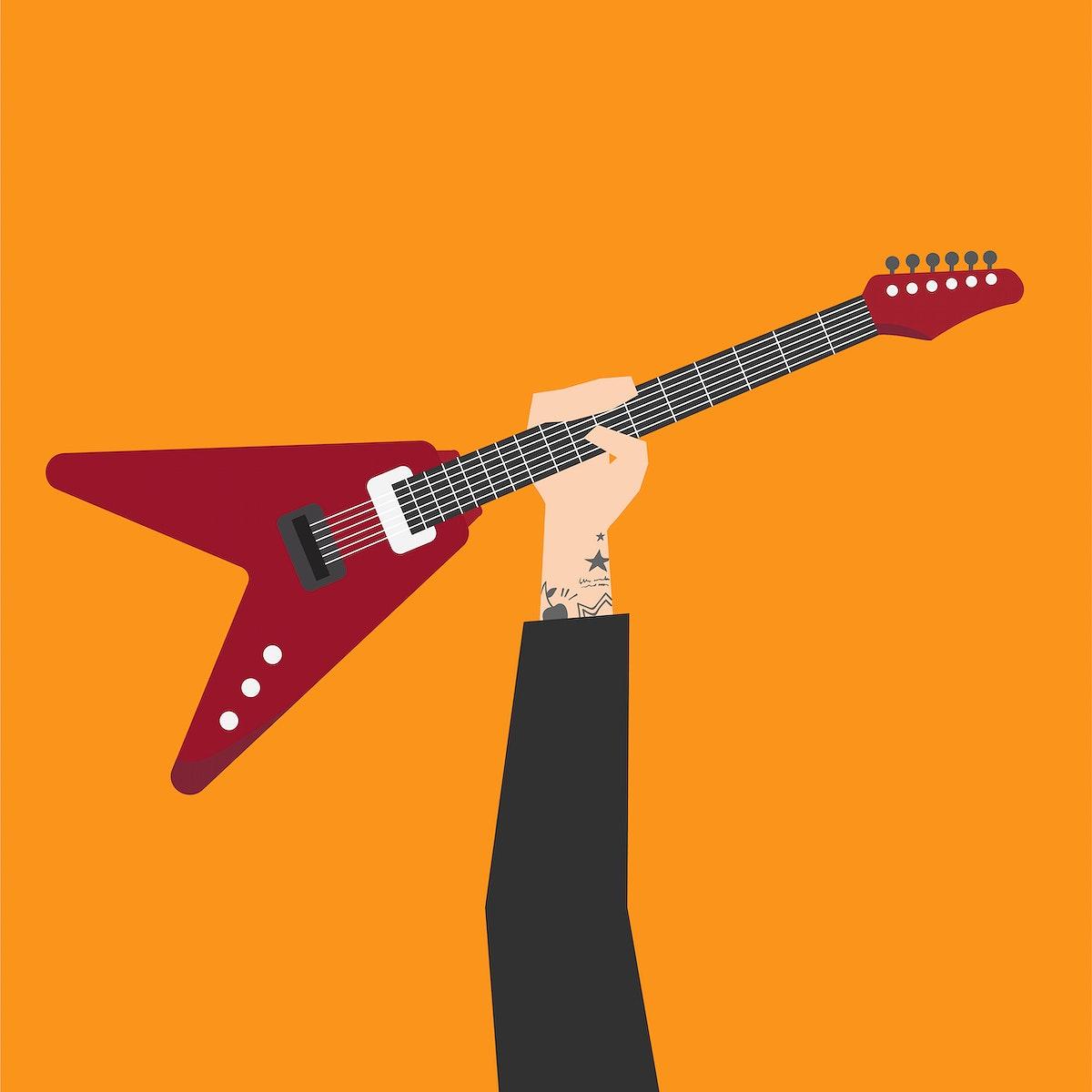 Hand holding electric guitar illustration