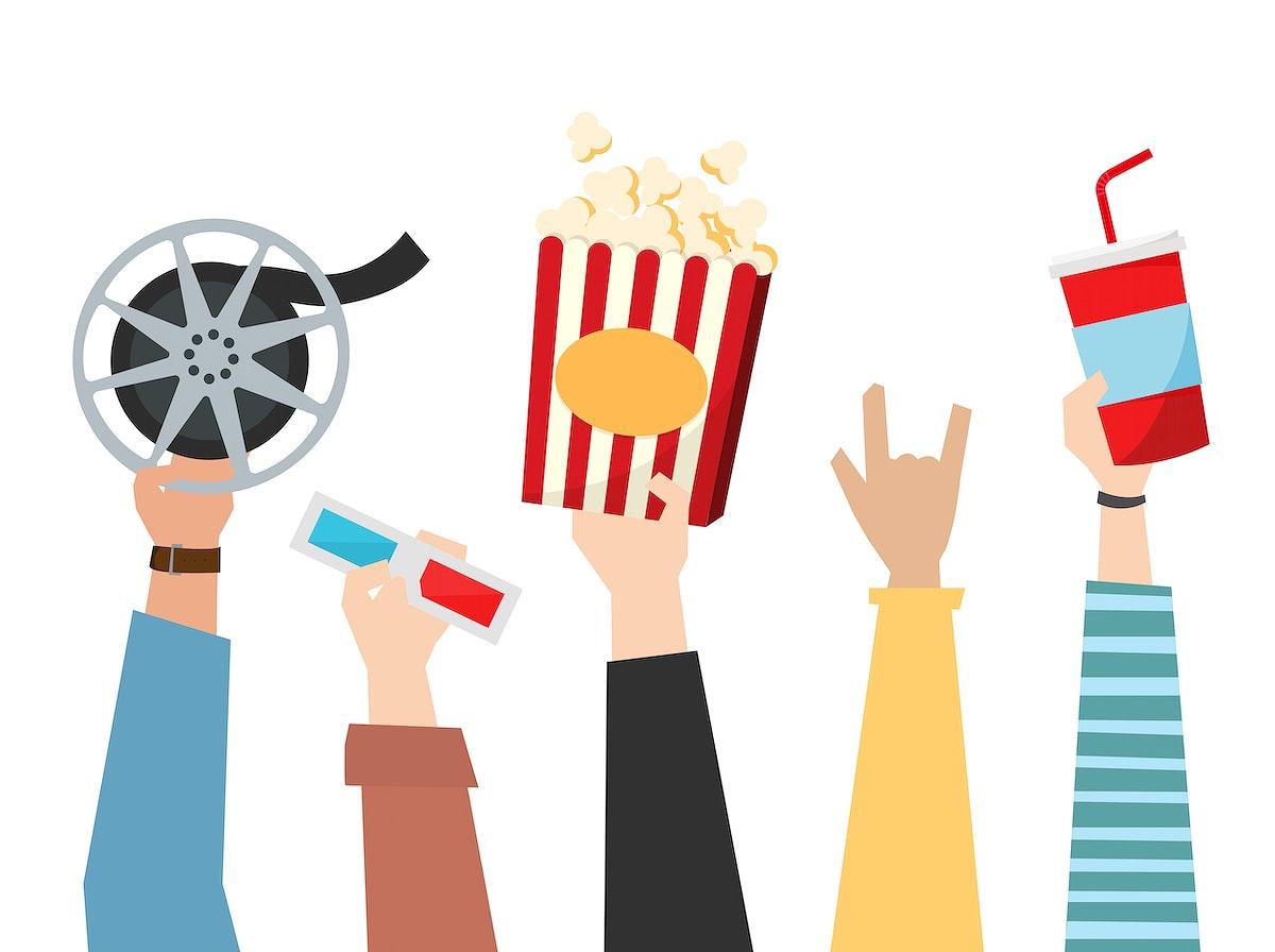 Hands holding cinema themed items illustration