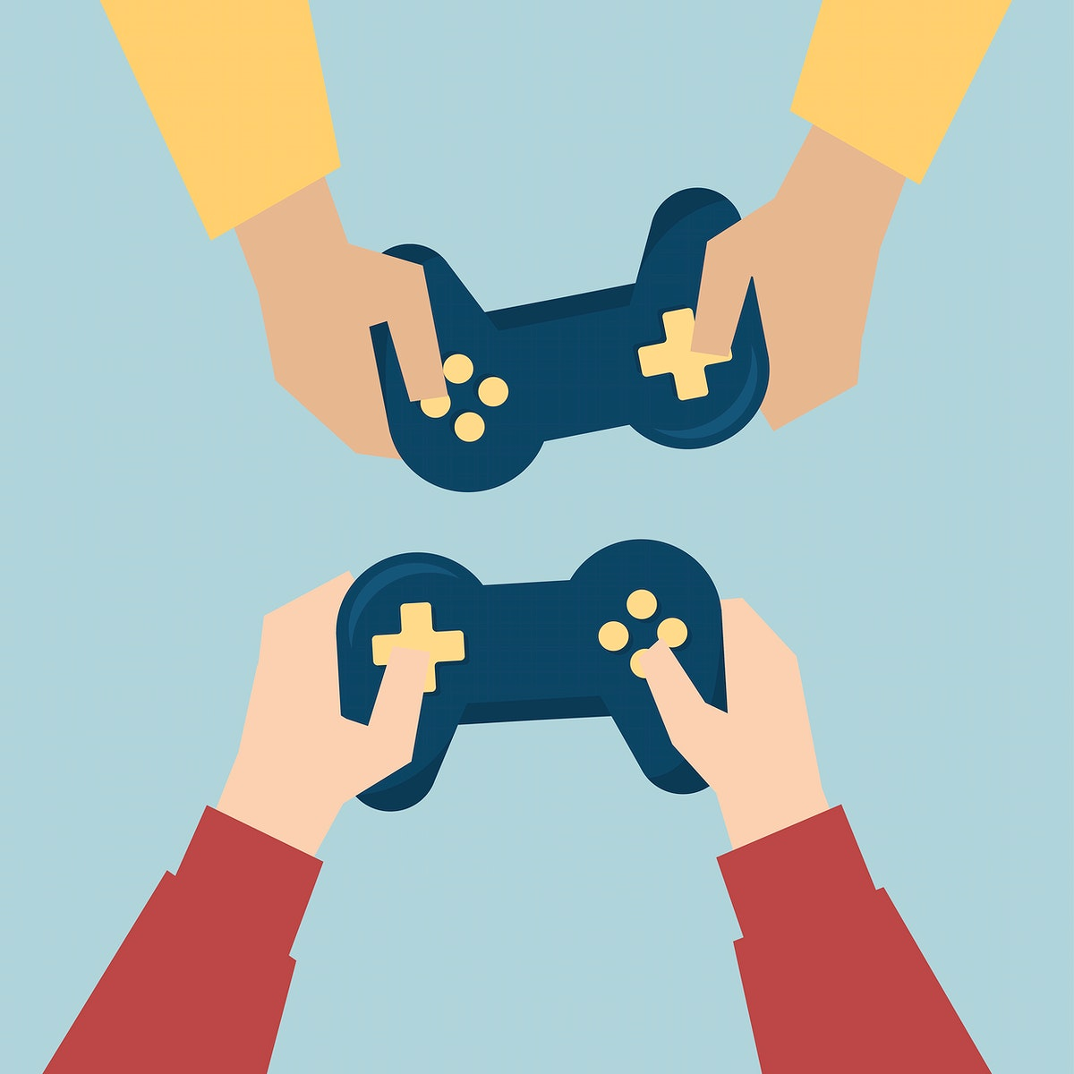 Hands holding game consoles illustration