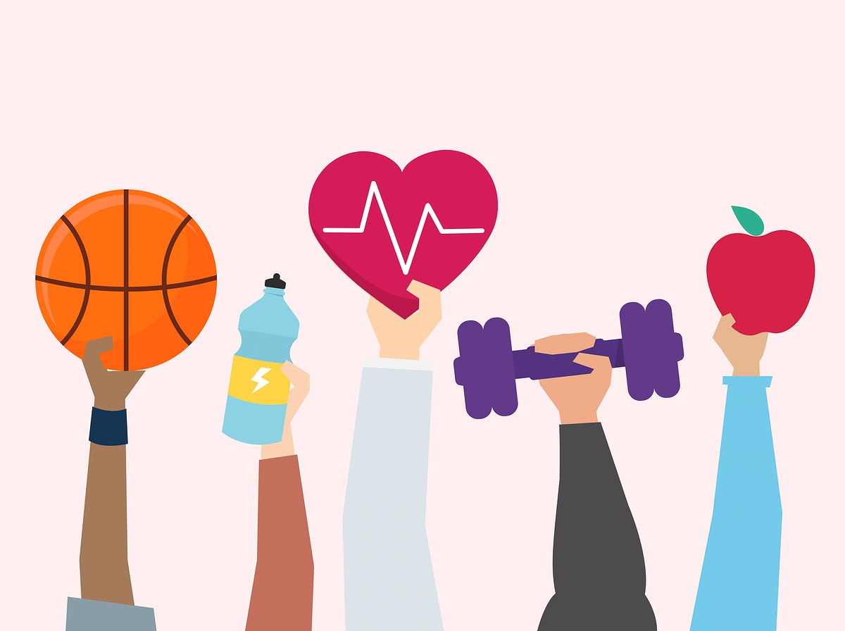 Illustration of exercise and healthy lifestyle concept