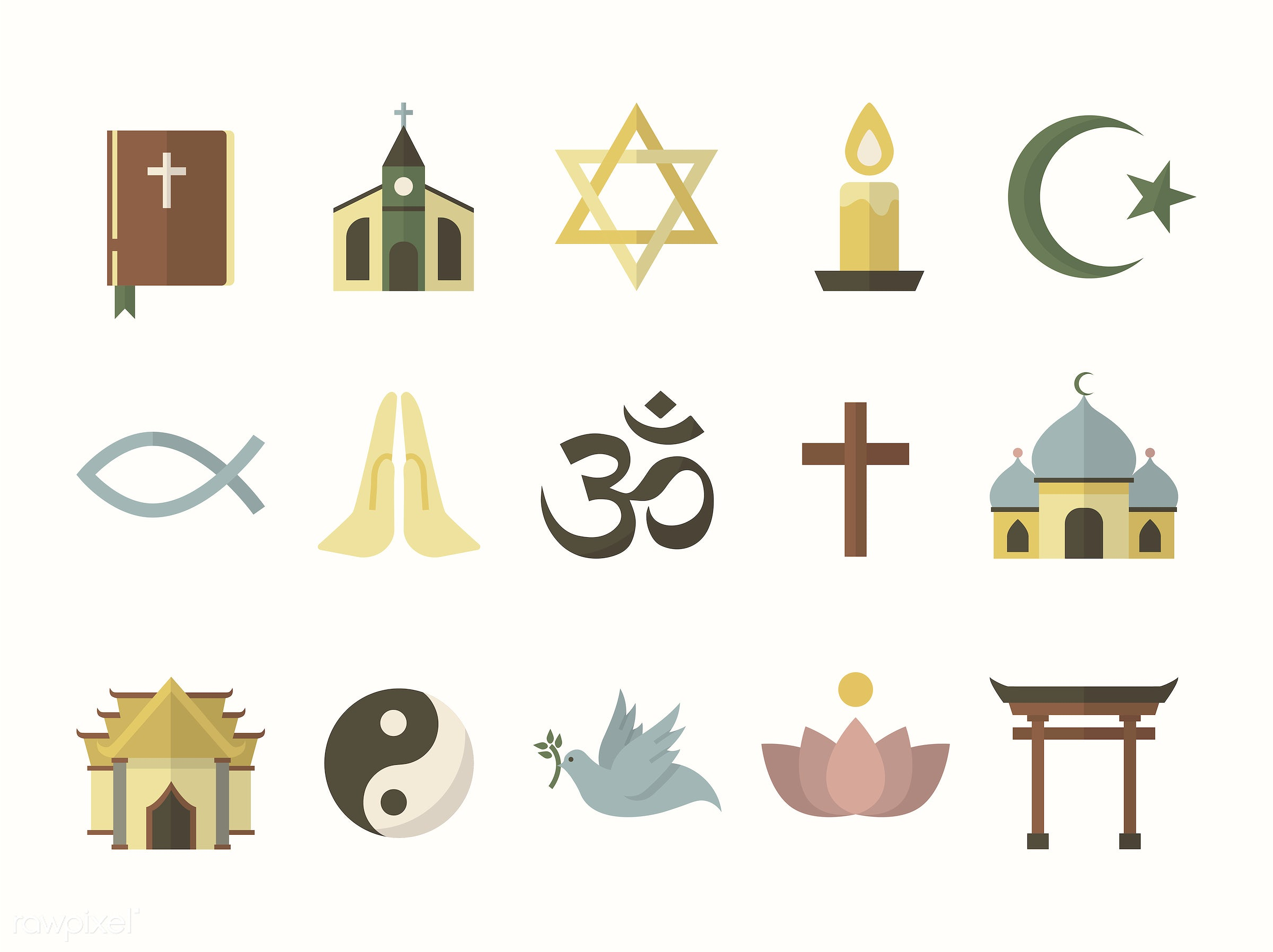 Collection Of Illustrated Religious Symbols Id 412575