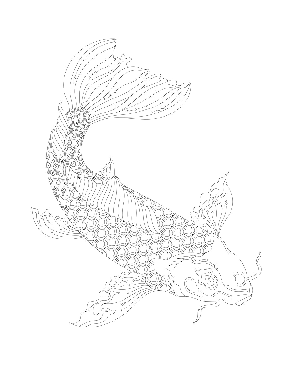 Japanese koi adult coloring page