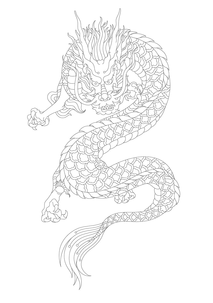 Japanese style dragon adult coloring