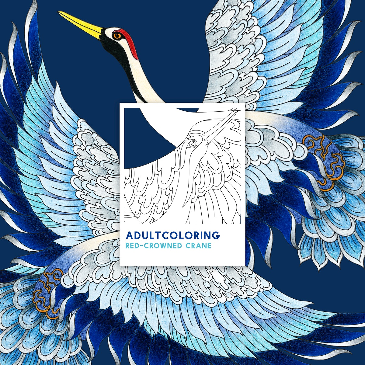 Red-crowned crane adult coloring page