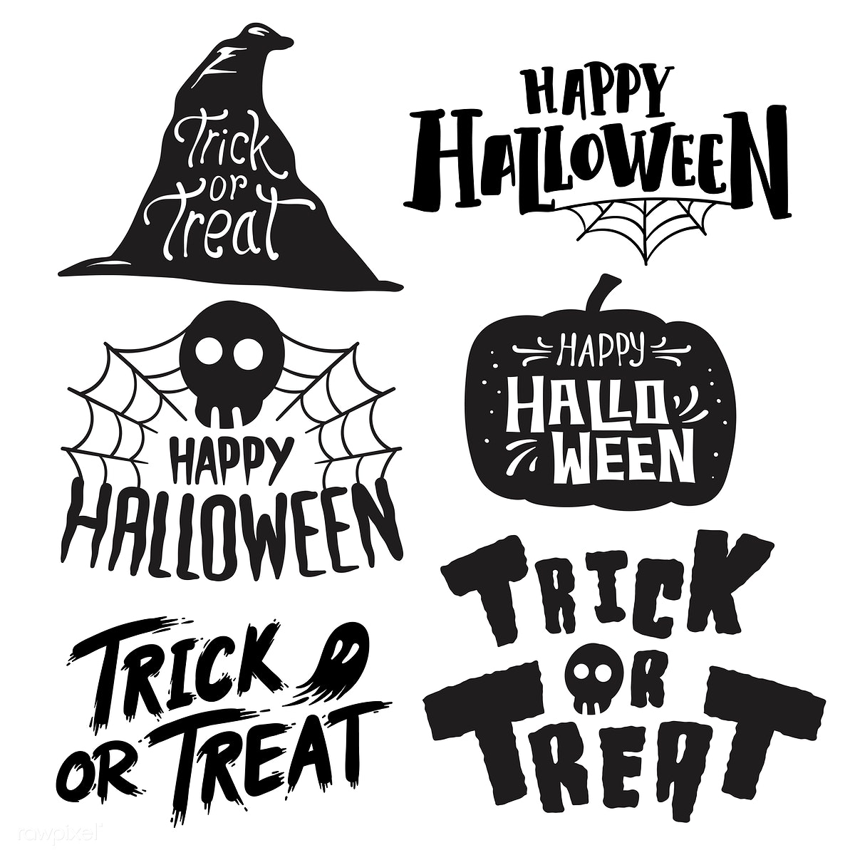Halloween Vector Black And White.Set Of Happy Halloween Vectors Free Stock Illustration 497014