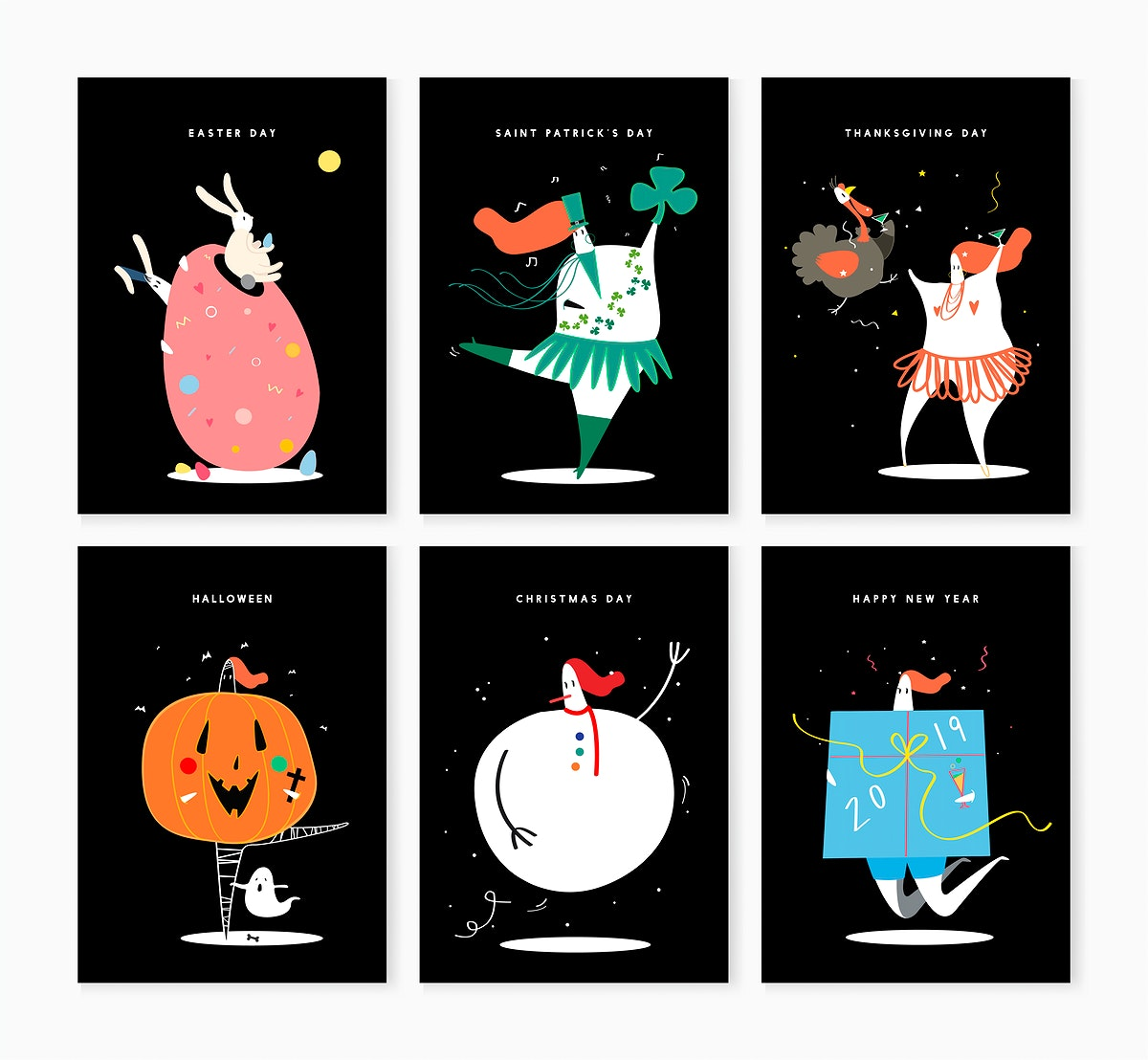 Set of various holiday characters illustration