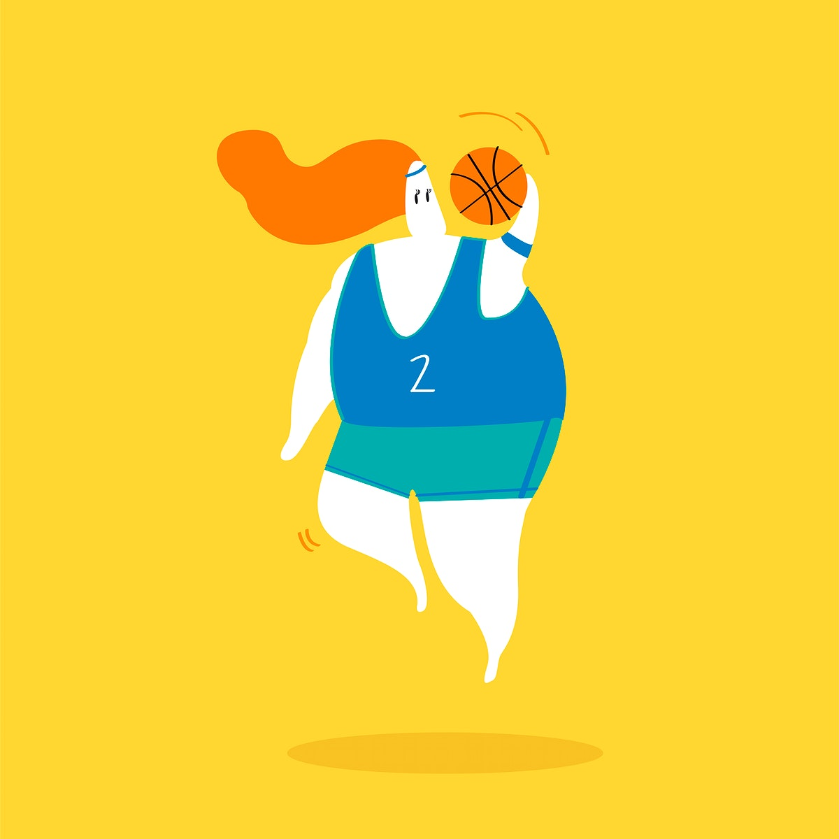Character illustration of a female basketball player