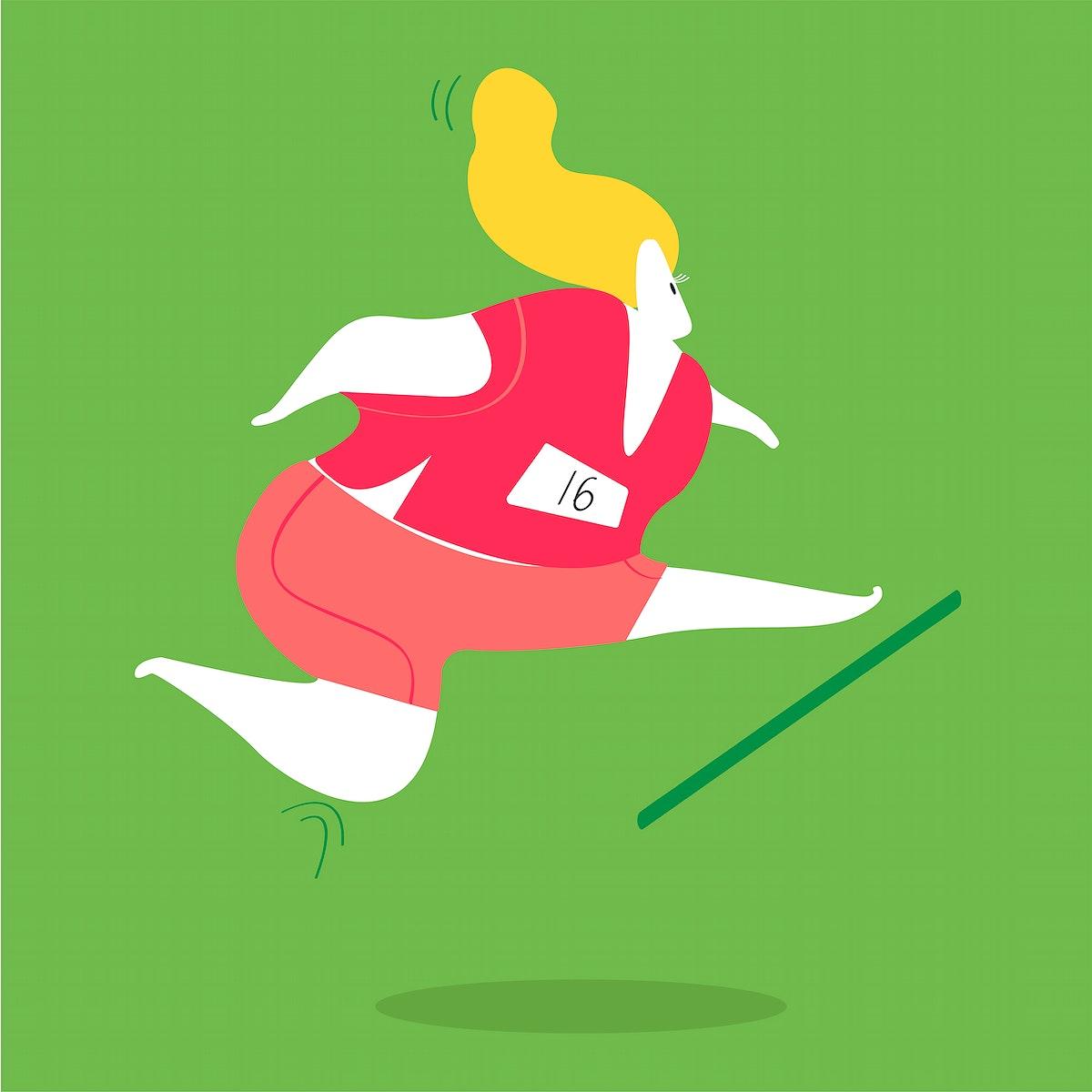 Female character running and jumping hurdles illustration