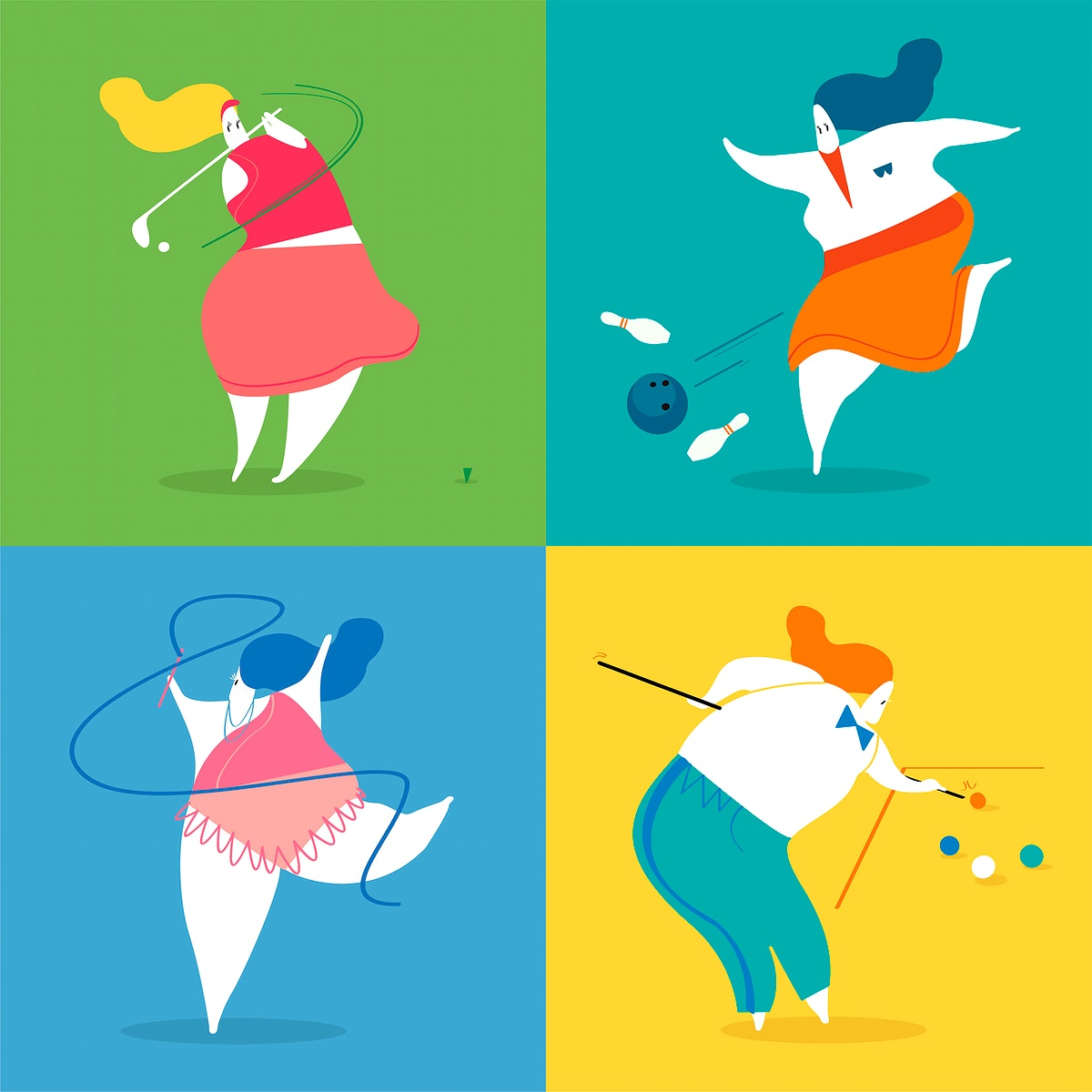 Character illustration of sport players
