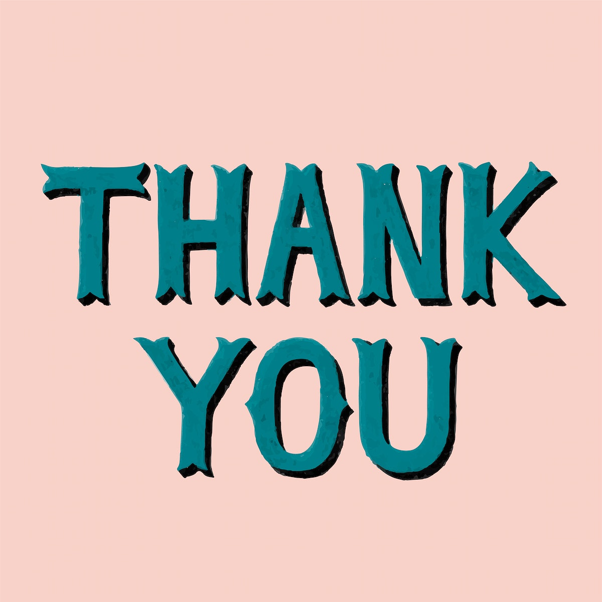 Handwritten style of Thank You typography