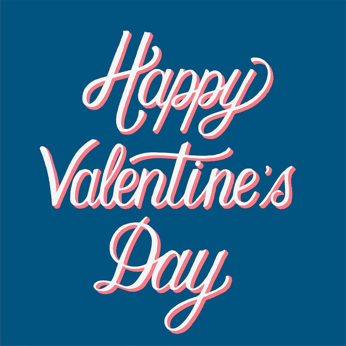 Handwritten style of Happy Valentine's Day typography