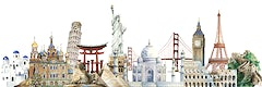 Collection of architectural landmarks painted by watercolor