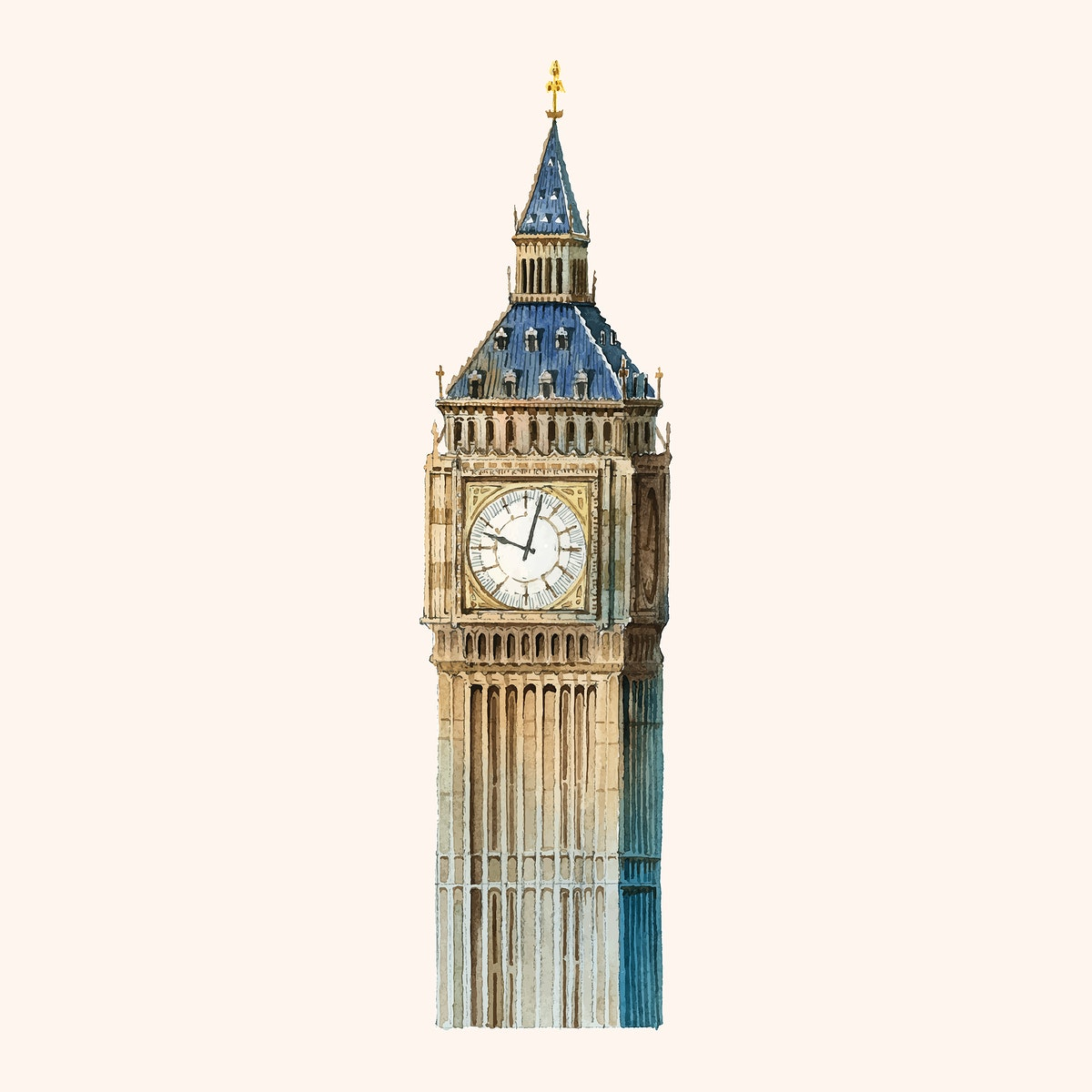 The Big Ben painted by watercolor