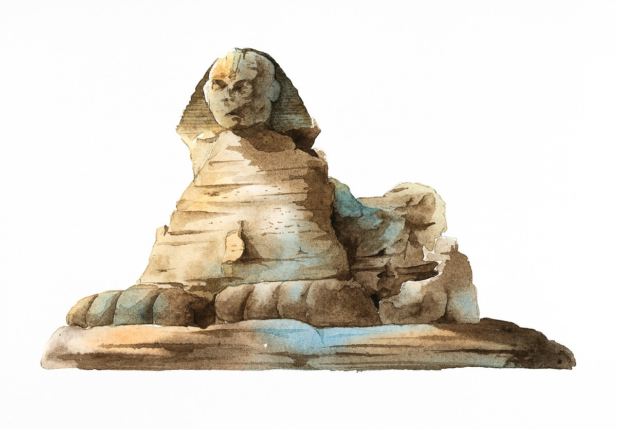 The Egyptian Sphinx painted by watercolor