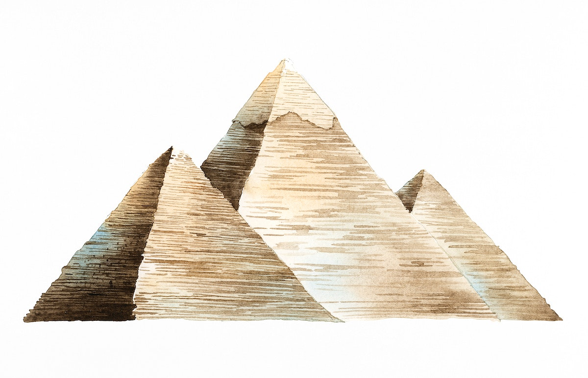 The Great Pyramids of Giza painted by watercolor