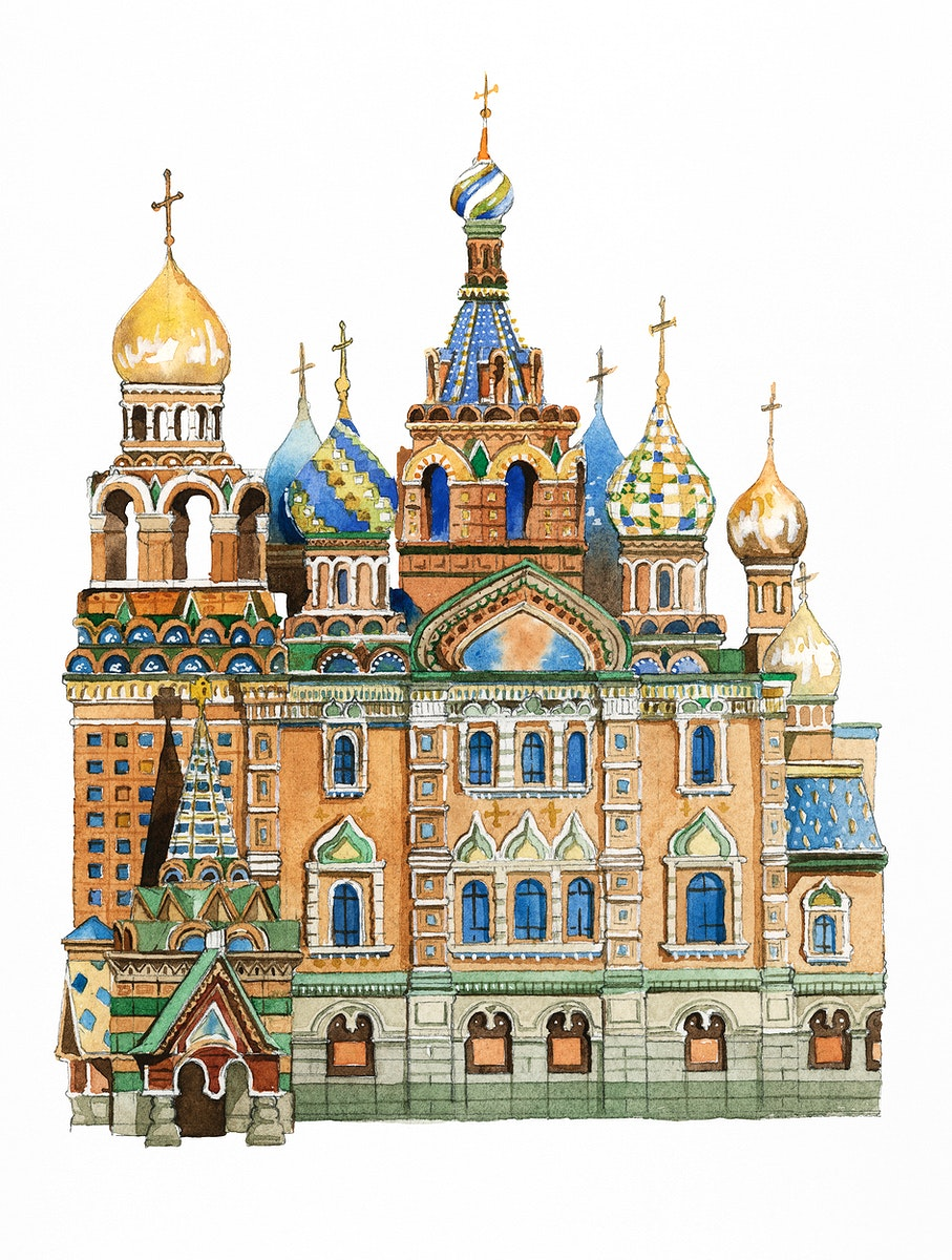Saint Basil's Cathedral painted by watercolor