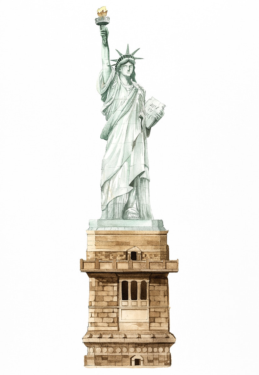 The Statue of Liberty painted by watercolor