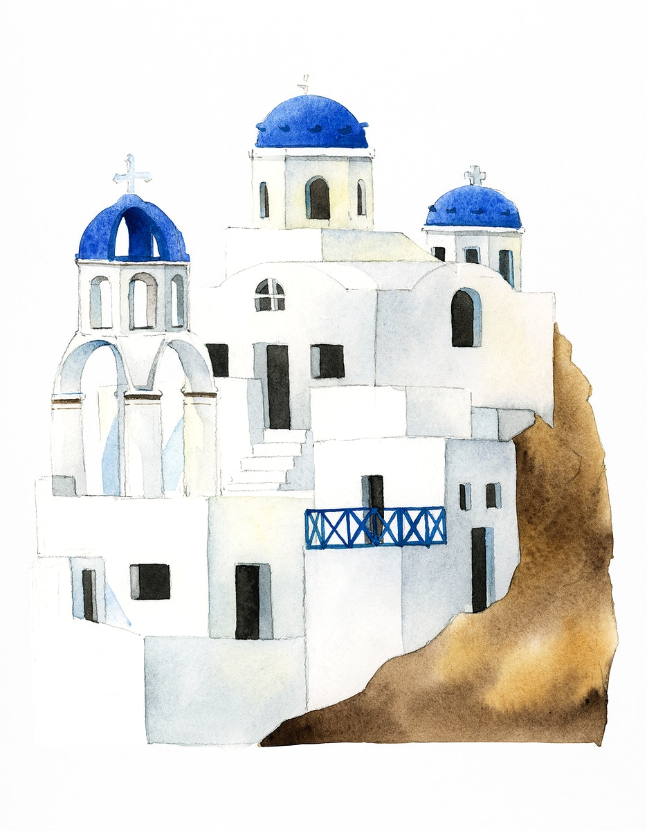 Santorini Cycladic houses painted by watercolor