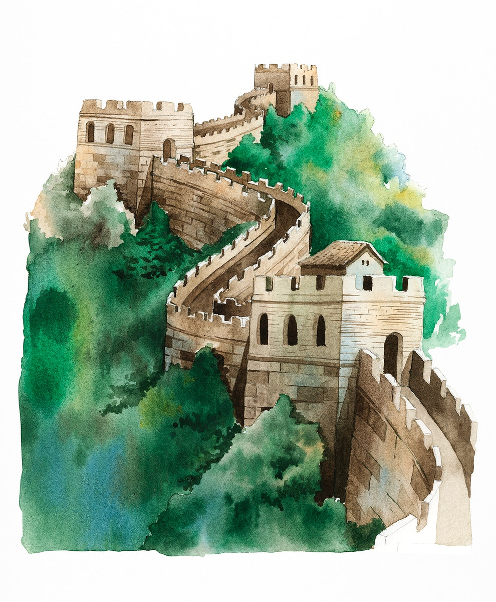 The Great Wall of China painted by watercolor