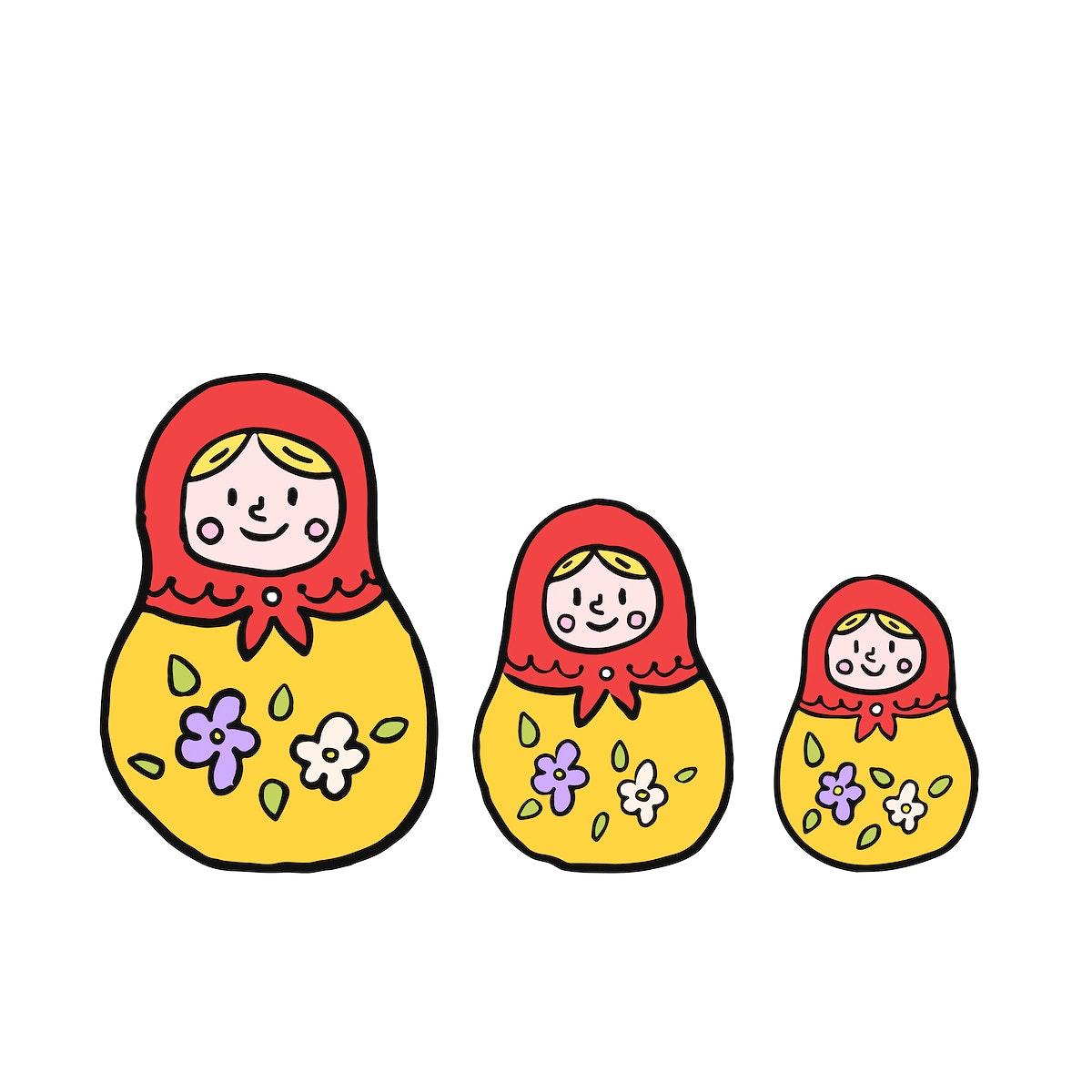 Russian nesting doll or matryoshka illustration