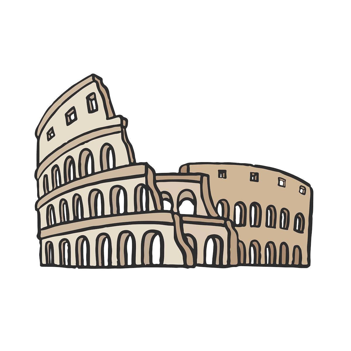 Ancient Roman Colosseum graphic illustration
