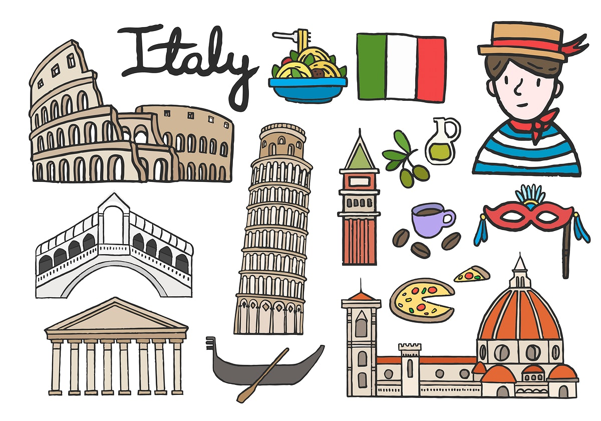 Set of iconic Italian landmarks