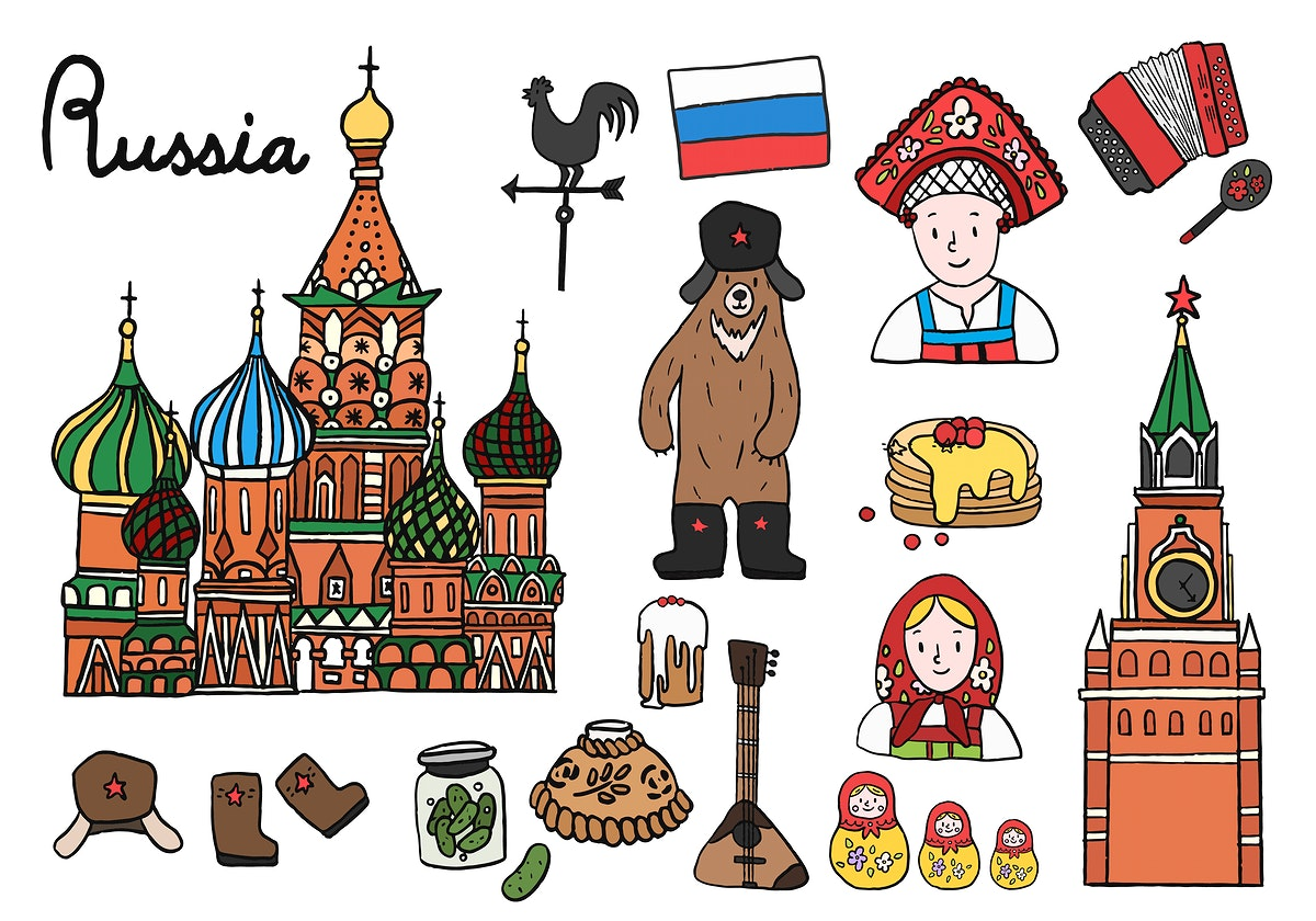 Set of Russian icons and landmarks