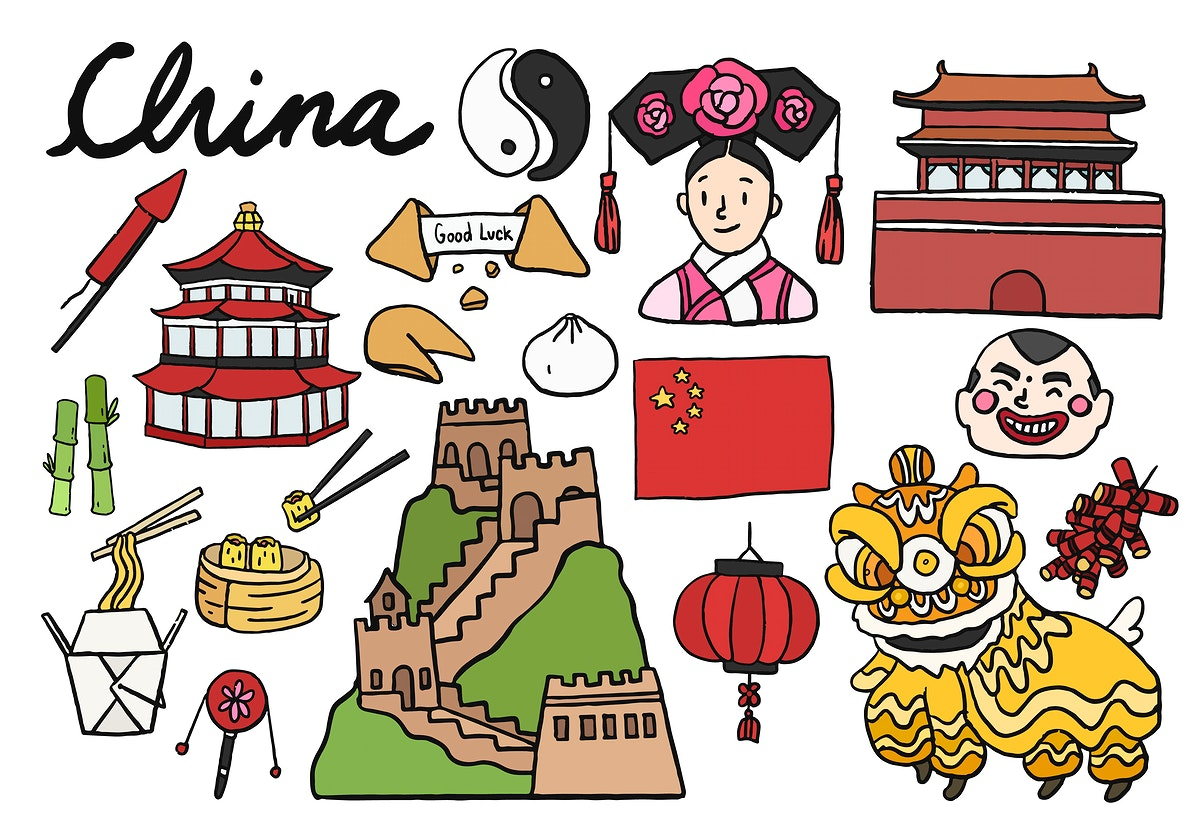 Set of Chinese icons and landmarks