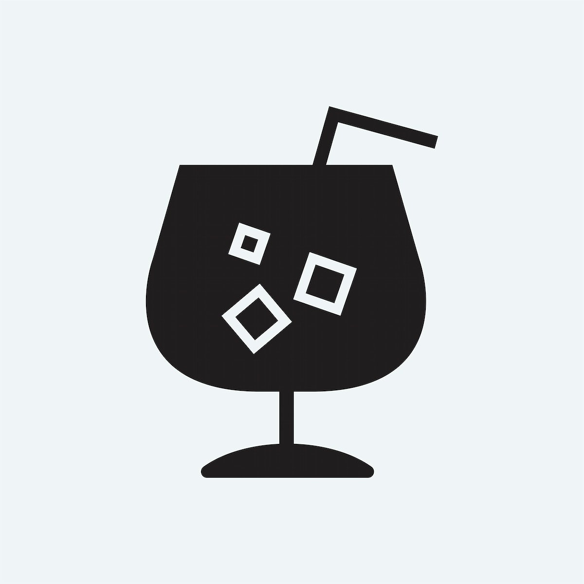 Refreshing cold drink with a straw illustration