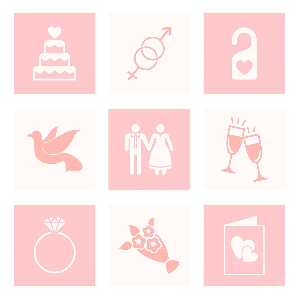 Set of love and wedding vectors