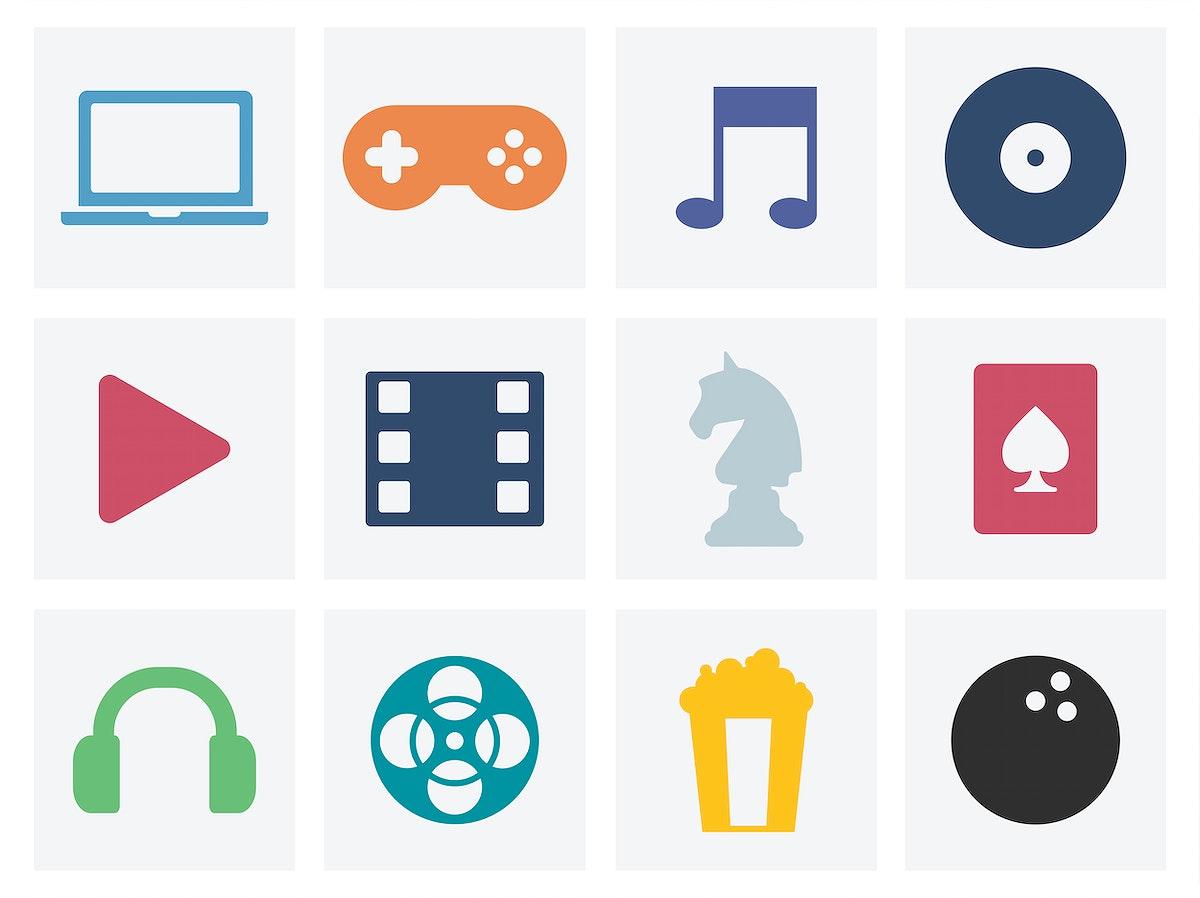 Entertainment concept graphic icons illustration