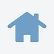 Isolated blue home icon on white background