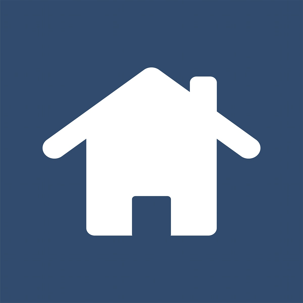 Isolated white home icon on blue background