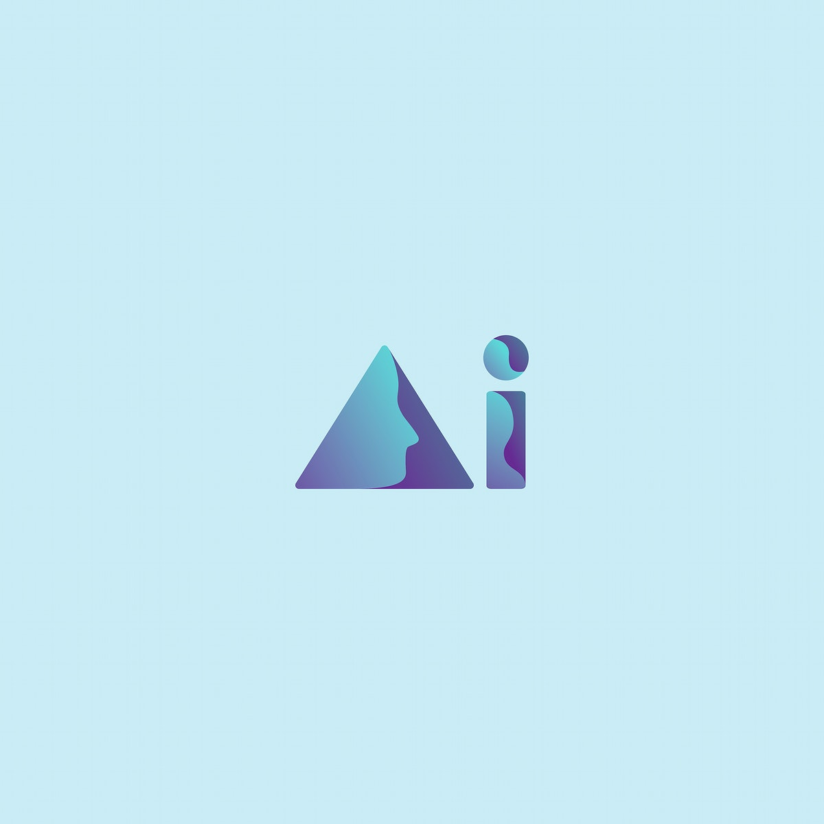Artificial intelligence icon typography illustration