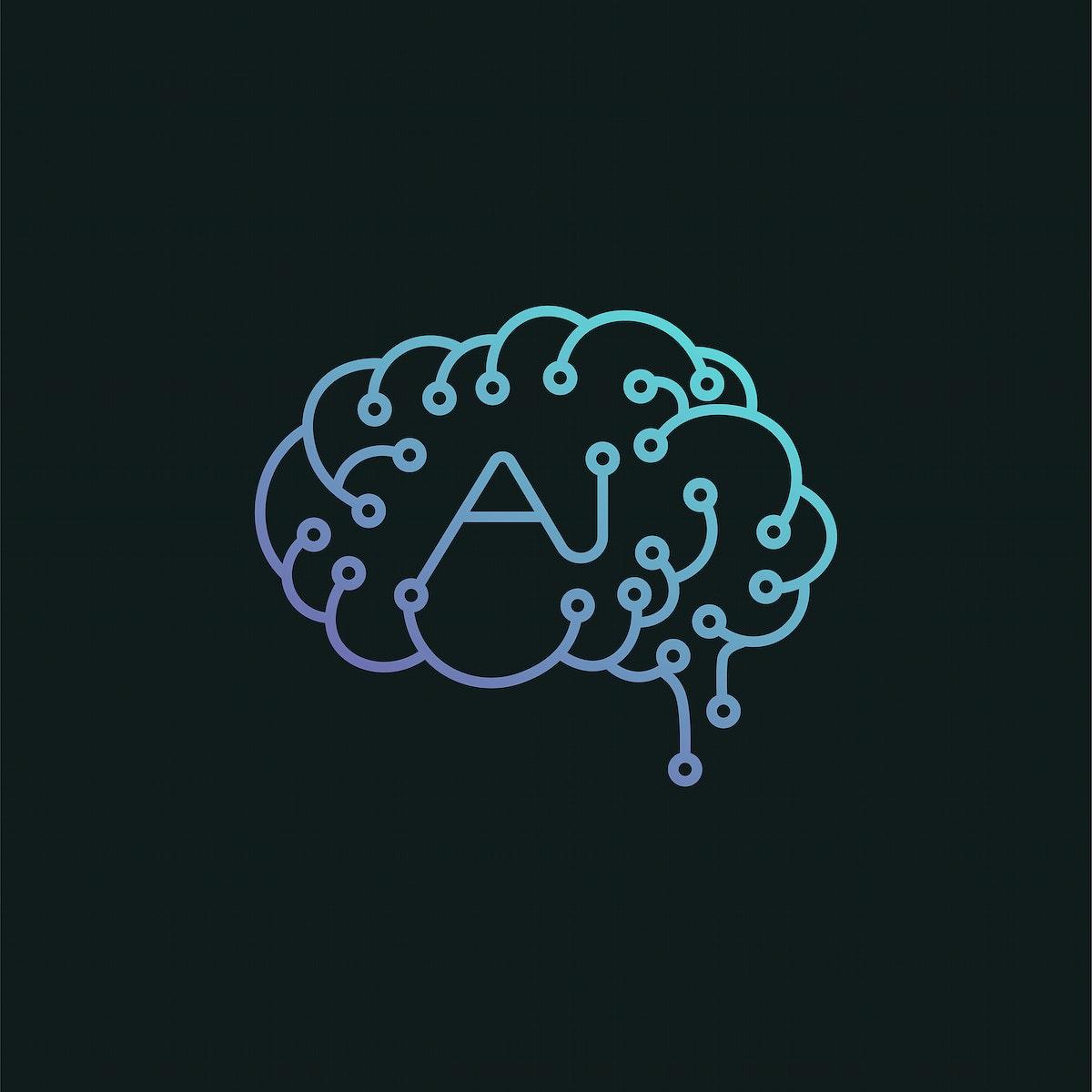 Artificial intelligence brain icon illustration