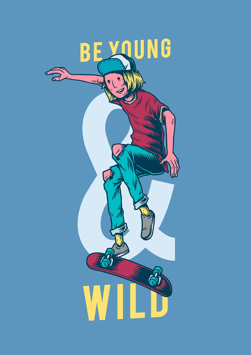 Be young and wild creative illustration
