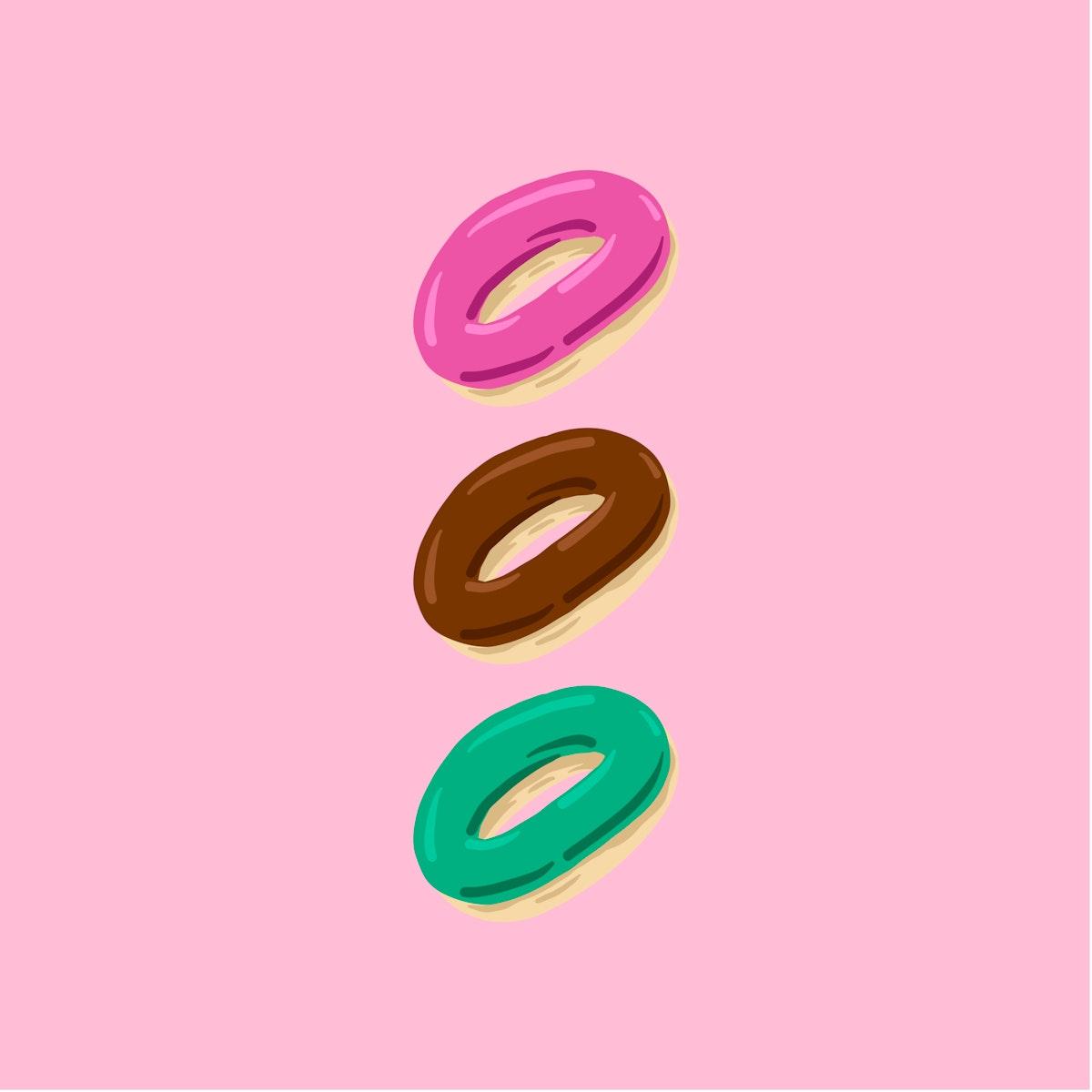 Three colorful glazed doughnuts illustration