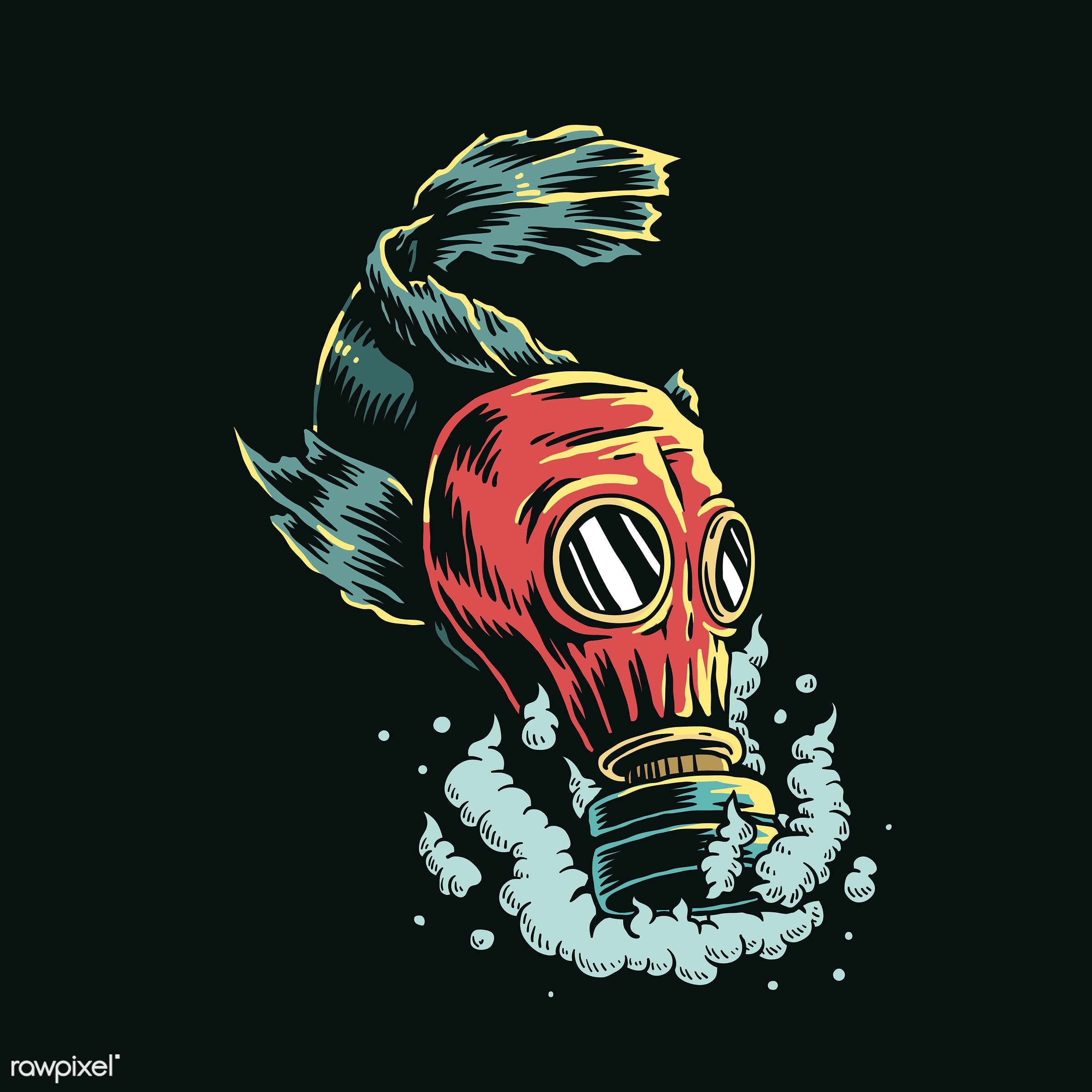 Fish wearing gas mask in polluted water illustration - ID: 454334
