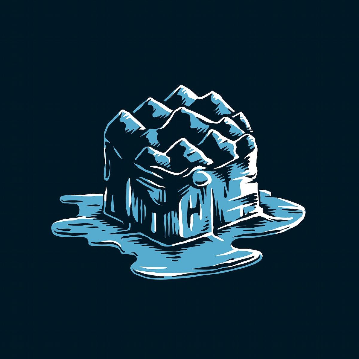 Melting iceberg from global warming effect illustration