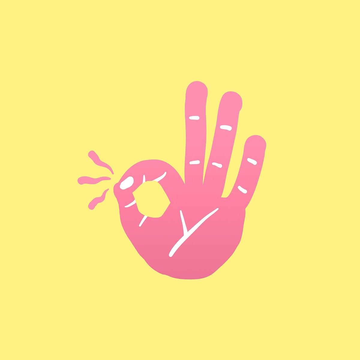 Ok hand gesture icon illustration